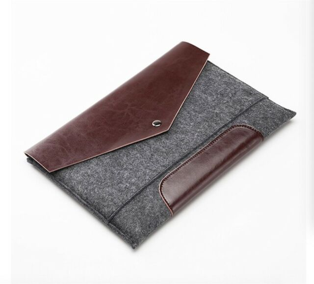 Grey Felted Wool Leather MacBook Case Laptop Sleeve Notebook Bag Pro Air All Sz