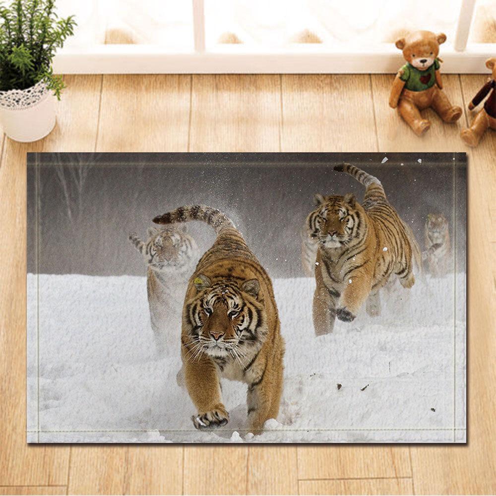 Tiger Runs In The Snow Door Mat Bathroom Rug Bedtoom