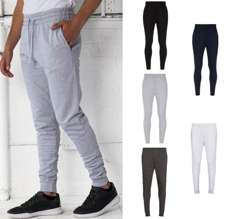 AWDis Tapered Men's TRACK PANTS, Slim Fit, Soft Cotton-faced Fabric, Many Colour
