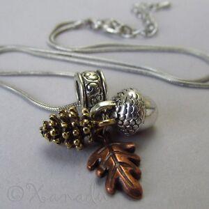 3856c6c9d9ef La imagen se está cargando Otono-Caida-Collar-con-Colgante-con-Oro-Pina-