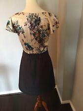 Anthropologie Tabitha Night Blooming Dress Birds Print Silk Cotton  Size 8