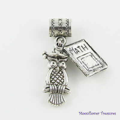 Tibetan Silver Wise Owl & Maths Book Charm Graduation fit European Bracelet