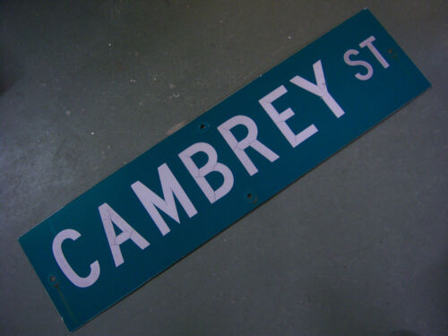 "Vintage ORIGINAL CAMBREY ST STREET SIGN WHITE ON GREEN BACKGROUND 36/"" X 9/"""
