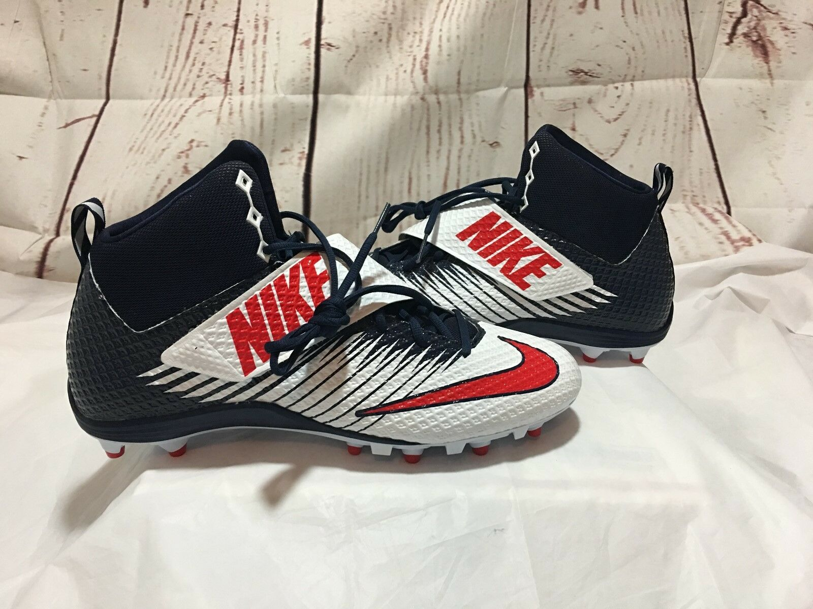 09947bc95 Nike Lunarbeast Strike Pro Pro Pro Navy Blue Red White Mid Top Football  Cleats-Size 16 0c2d35