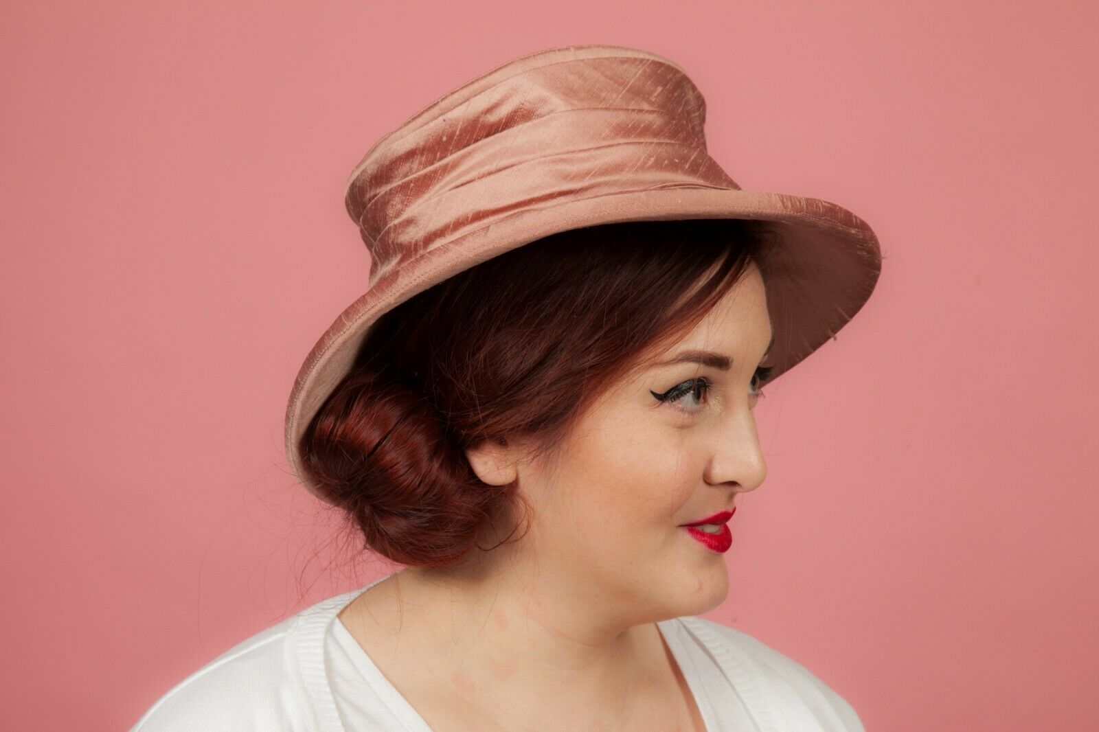 Pink raw silk multi coloured beaded hat by Mad Hatter Formal Wedding Races