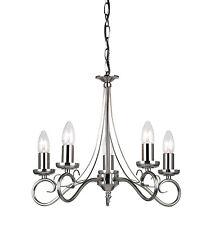 Endon Trafford chandelier 5x 60W Antique effet argenté assiette