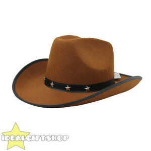 BROWN STAR STUDDED COWBOY HAT WILD WESTERN FANCY DRESS COSTUME ... 438ce3181af0