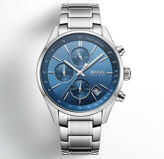 af17ec7bd1c8e Hugo Boss Men s Grand Prix Chronograph Watch 1513478 Blue Dial for sale  online