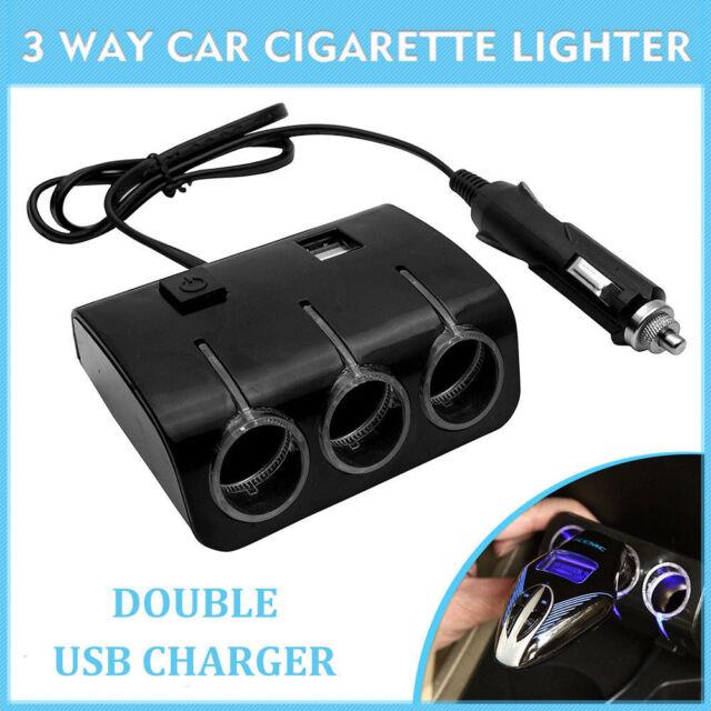 3 Way12V 24V Car Cigarette Lighter Adapter Double Plug Socket Charger Splitter