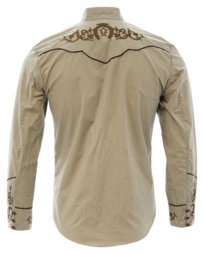 Men/'s Charro Shirt Camisa Charra El General Western Wear Color Khaki