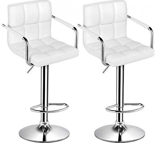 Admirable Yaheetech Bar Stools Set Of 2 Modern Square Pu Leather Adjustable Barstools Gmtry Best Dining Table And Chair Ideas Images Gmtryco