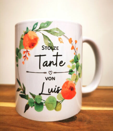 """Personalisierte Tasse /""""stolze Tante/"""" individueller Becher Geschenkartikel"""