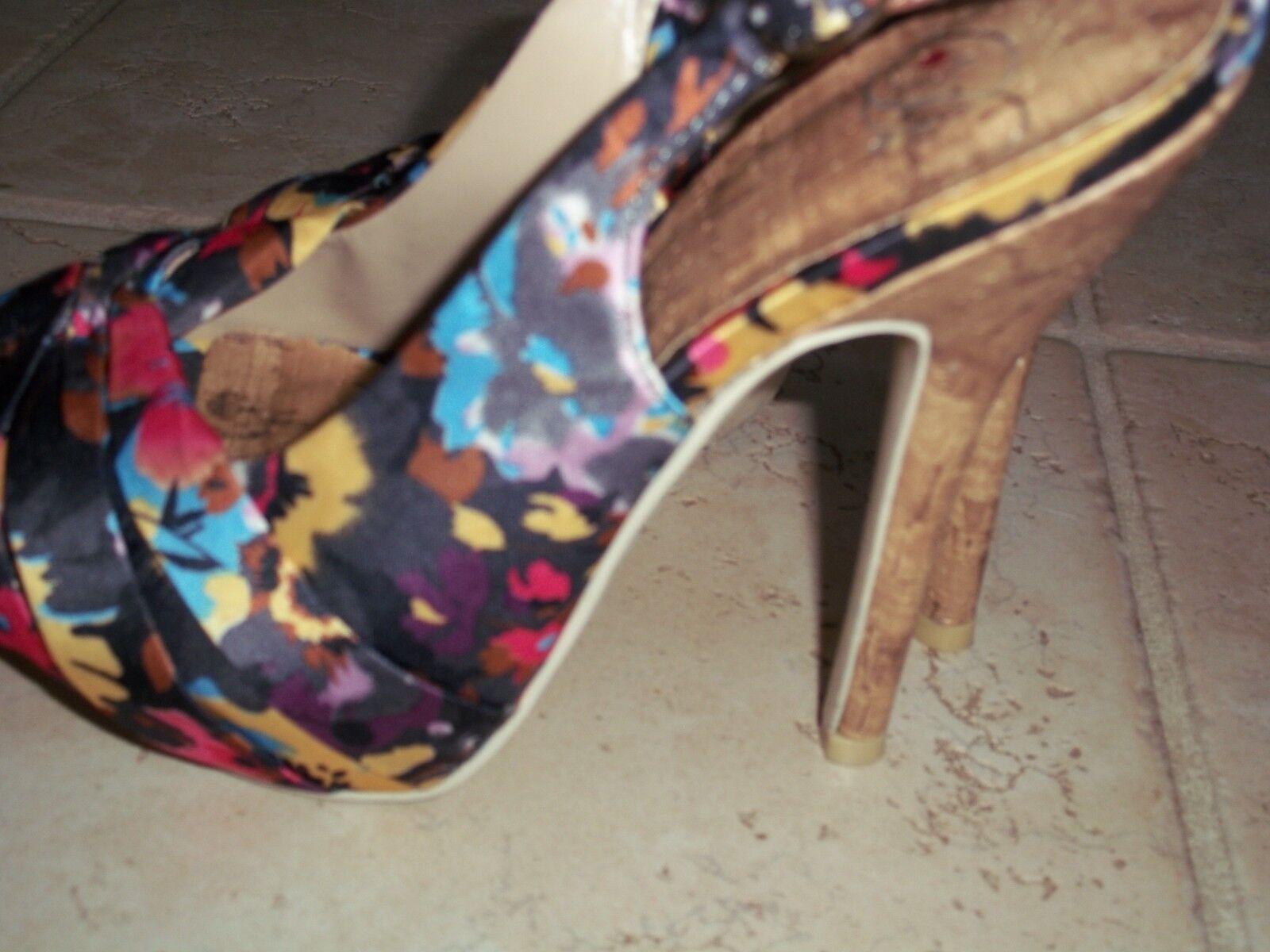 Varney Fabric flowers Slingback Stiletto Heels Sandals Sandals Heels Sz 6.5 1f2576