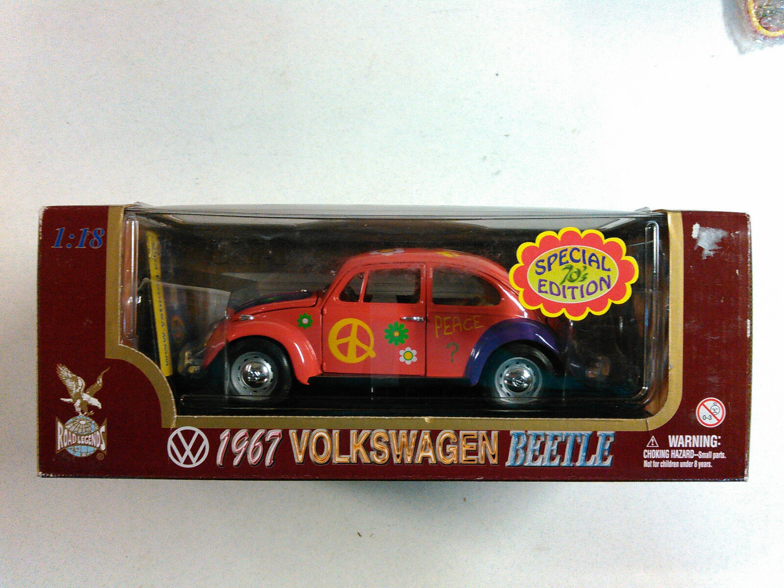 ROAD LEGENDS orange FLOWER POWER PEACE HIPPY VW 1 18 SCALE NEW IN THE BOX