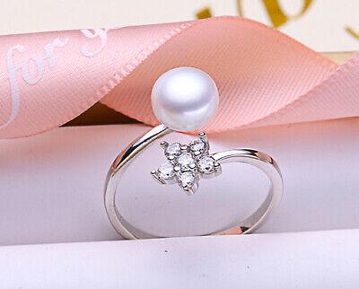 B07 Ring Weiße Perle Versilbert Mit Blume Aus Zirkonia Größenverstellbar