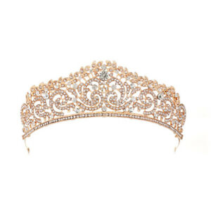 Wedding-Bridal-Gold-plated-Crystal-Rhinestone-Tiara-Crown-Headband-Party-New-GT