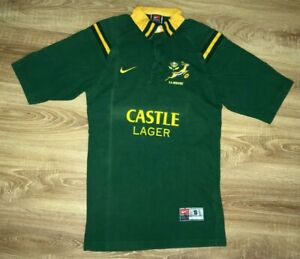 South-Africa-Springboks-vintage-Tight-Fit-Castle-Lager-Nike-rugby-shirt-size-S