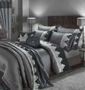 Details about Luxury New Embroidery Duvet Set,Curtains, Pillow, Throws and Cushion Covers Set
