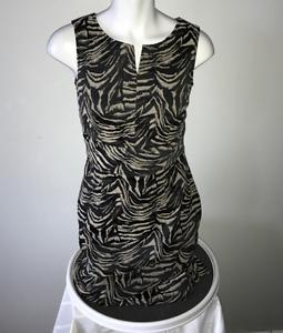Santorelli Notch Neck zebra Animal Print Jacquard Sleeveless Sheath Career Dress