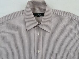 NICOLE-MILLER-NY-mens-Tan-Striped-long-sleeve-button-up-shirt-size-15-5-34-35-M