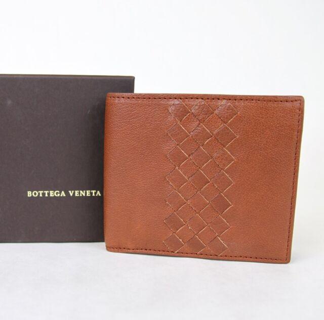 NEW BOTTEGA VENETA Mens Leather Bifold Wallet w/Woven Detail Brown 196207 6318