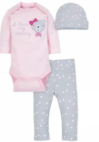 Neuf Avec Étiquettes Fille Bébé 3pc à Manches Longues Tenue Taille 12 mois