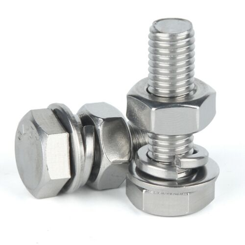 304 Stainless Steel Outer Hexagon Bolt Nut Suit Of Extended Flat Spring Washers