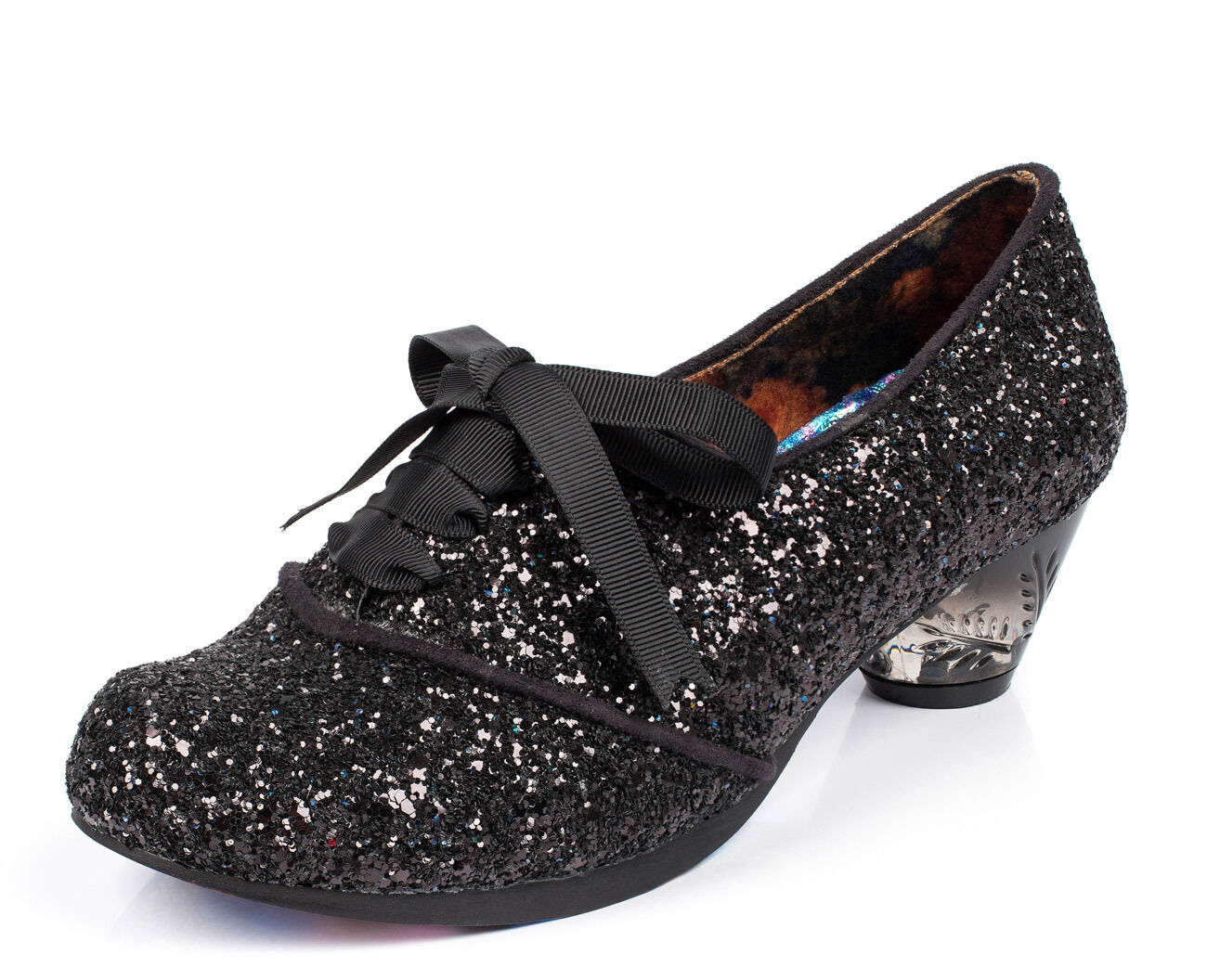 Irregular Choice NEW Curio Low black glitter low heel lace up shoes sizes 3-9