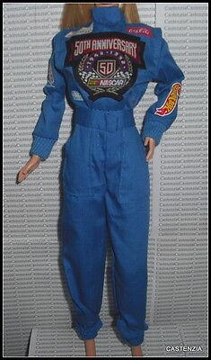 BODYSUIT ~ BARBIE DOLL BLUE 50TH ANNIVERSARY NASCAR RACING JUMPSUIT UNIFORM