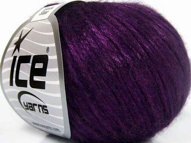Rock Star #64459 Purple Metallic Sheen Soft Nylon Merino Wool Yarn 50gr 125yds