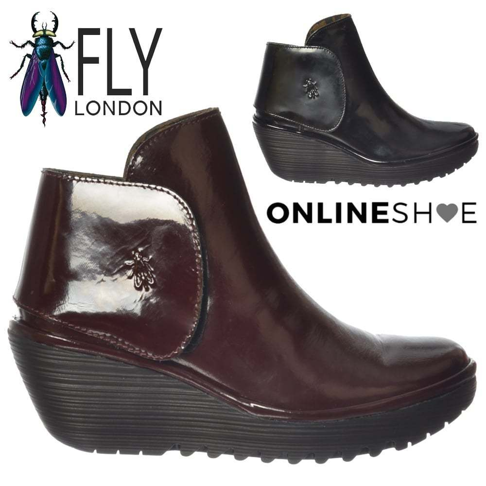 donna Fly London Yogi stivali  Tirare su Heel Wedge Leather Full Dimensione  al prezzo più basso