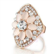 SIze 6 Austrian Crystals Ring Flower Cat's eye stone 18k Gold Plated GIFT R183