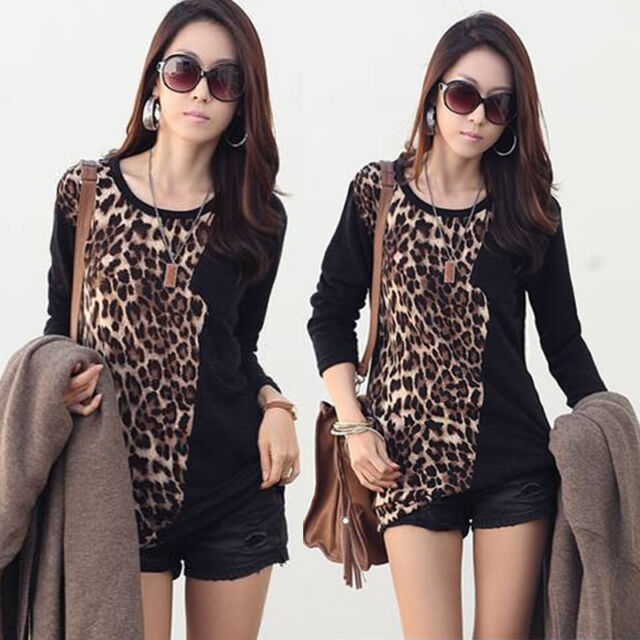 Fashion Women Long Sleeve Leopard Print T shirt Loose Tops Blouse Black New