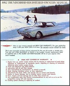 ford thunderbird owners manual  envelope