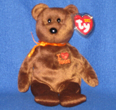 TY I LOVE TEXAS the BEAR  BEANIE BABY -  MINT with MINT TAGS