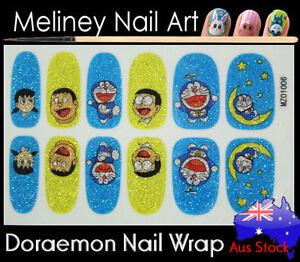 Doraemon Full Cover Glitter Nail Wrap Nail Art Stickers Pattern
