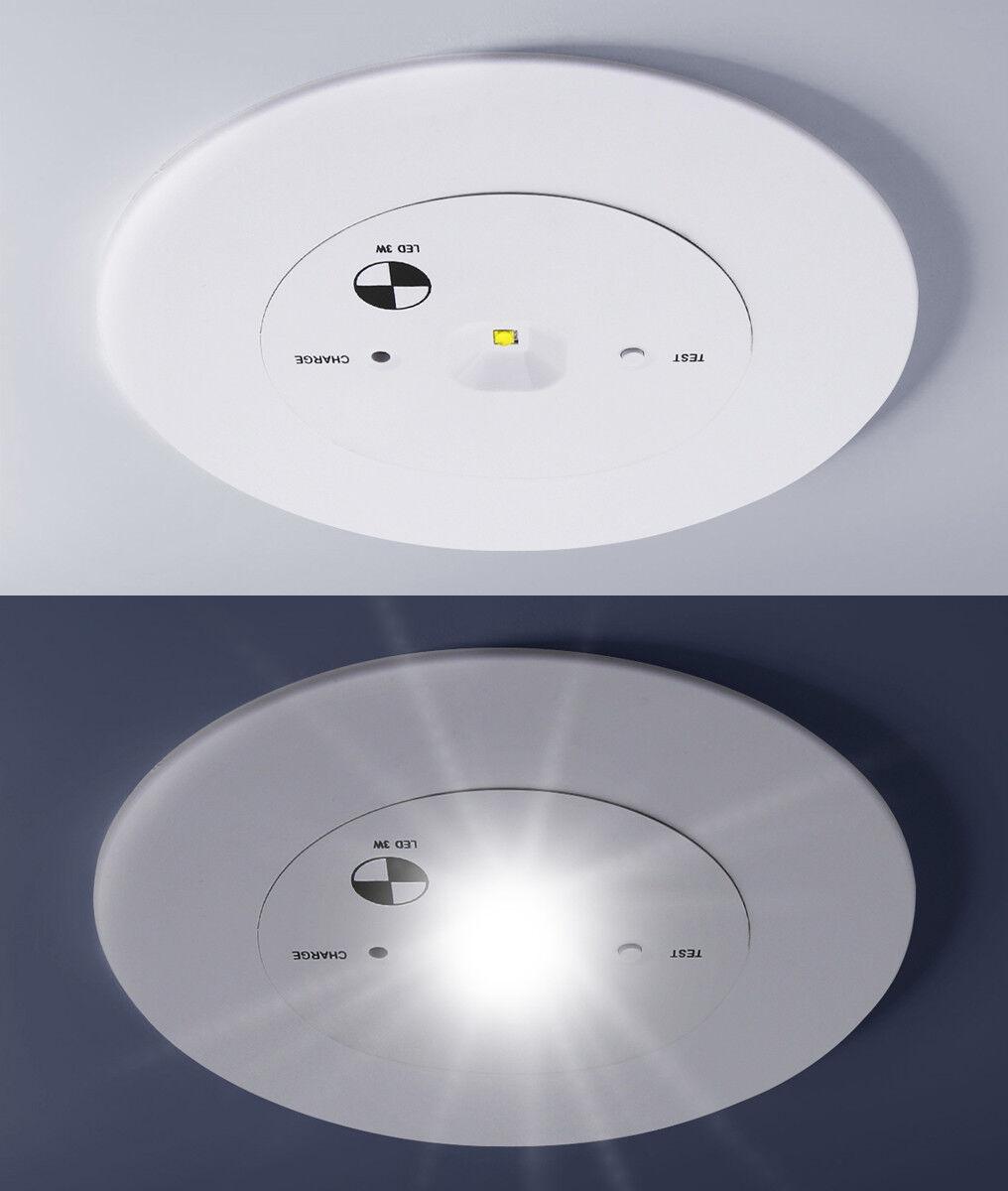 Led Recessed Round Emergency Exit Light Slimline Panel Non Maintained Eml03 Ebay