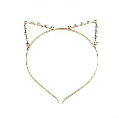 Girls Women Cat Ears Fashion Pearl Rhinestone Alloy Headband Hair Band Cute New