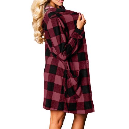 Cardigan donna cappuccio quadri checkered camicia scacchi scozzese lungo DL-2236