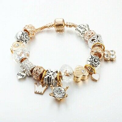 Pandora Inspired Gold Silver Charm Bracelet Gold Charm Bracelets Gift Ideas Ebay