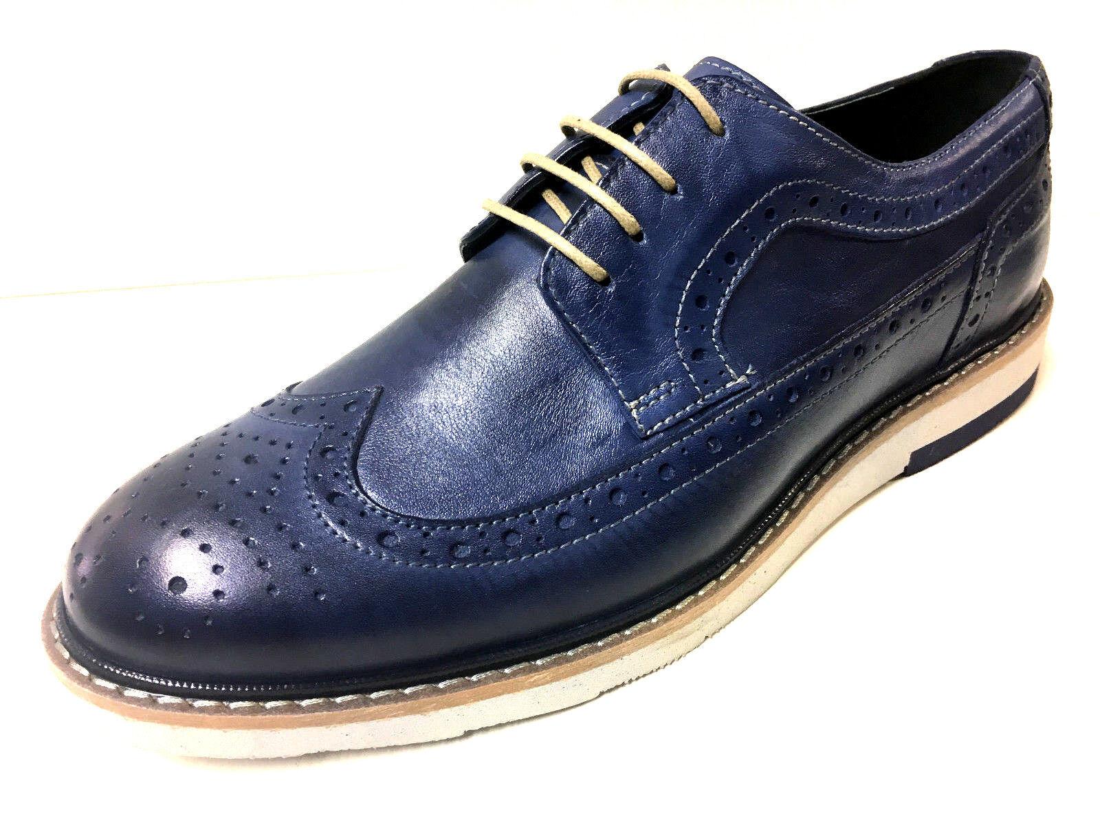 Nueva moda azul Alessandrini mocasín azul cuero Budapester caballero zapatos con cordones 42