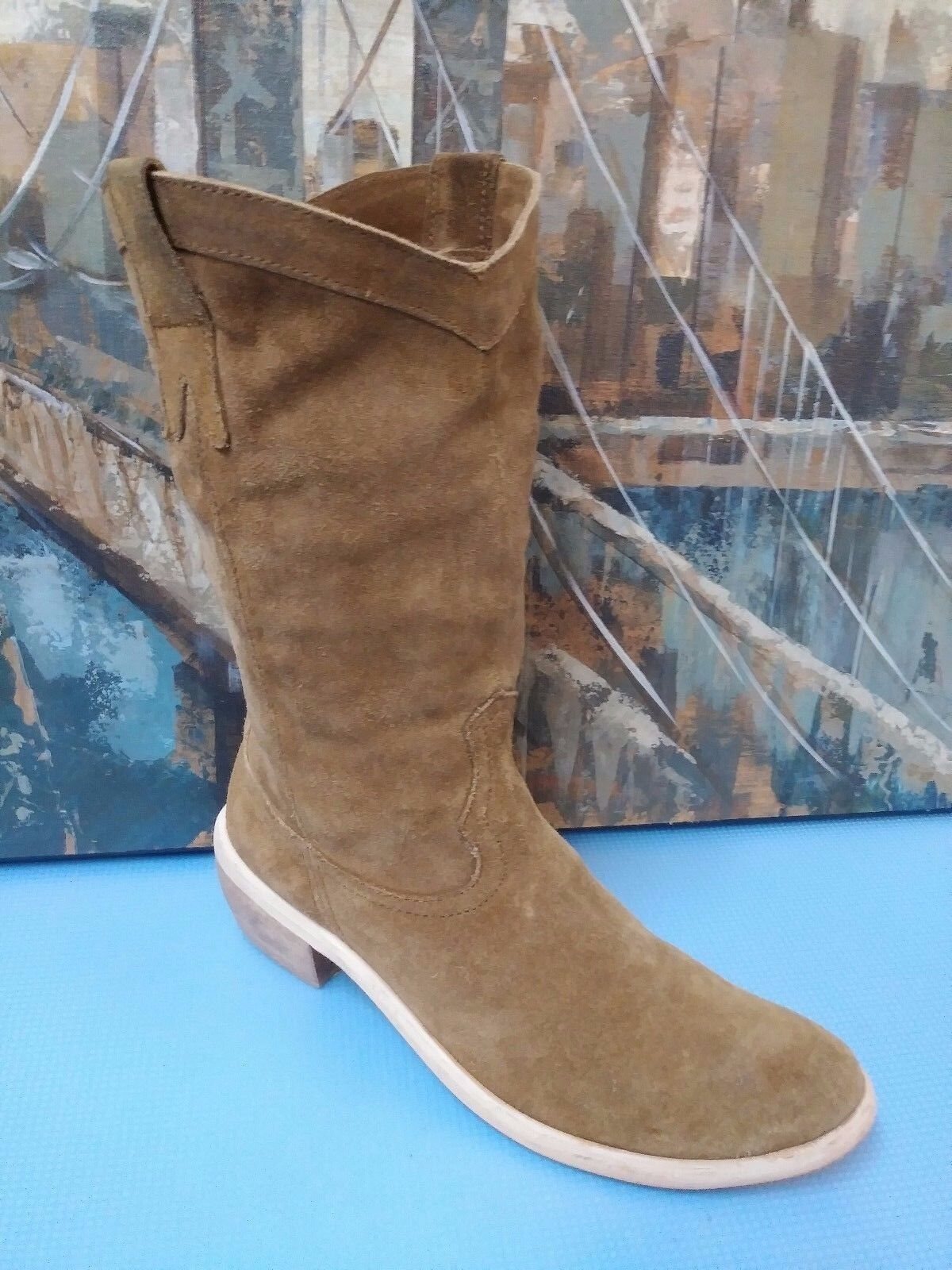 Diba Tan Suede Leather COWGIRL-Western Boots Sz 38 7.5