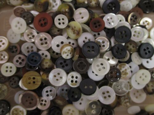 White Cream 200 x Round Resin Shirt Buttons Mixed Sizes Natural Colours