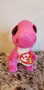 "Rare Ty Beanie Boos Darla The Pink Dragon 6/"" Plush Glitter Eyes Gift New"