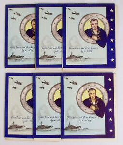 Lot x6 1940s WWII Greeting Cards NOS Unused NAVY SAILOR Military JP O-3202 Vtg