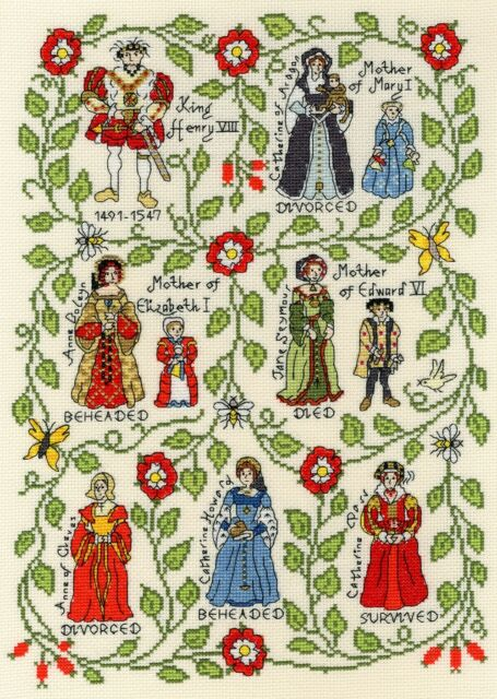 BOTHY THREADS HENRY VIII 6 WIVES HISTORICAL COUNTED CROSS STITCH KIT XPS7 NEW