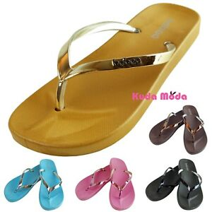 cec600039519a Women s Summer Metallic Strap Casual Thongs Flat Flip Flops Sandals ...