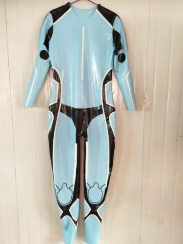 Latex Rubber Catsuit Light Blue Sport Racing Suit Cosplay Bodysuit S-XXL 0.4mm