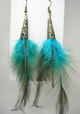 F1137F Feather Earrings Chain Suona Dangle Eardrop Fashion Handmade Jewelry