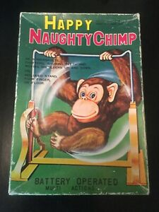 Vintage-NOS-1960-039-s-Daishin-Happy-Naughty-Chimp-Battery-Operated-w-Box-Japan